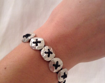 Handmade Hammered Silver Button & Leather Bracelet