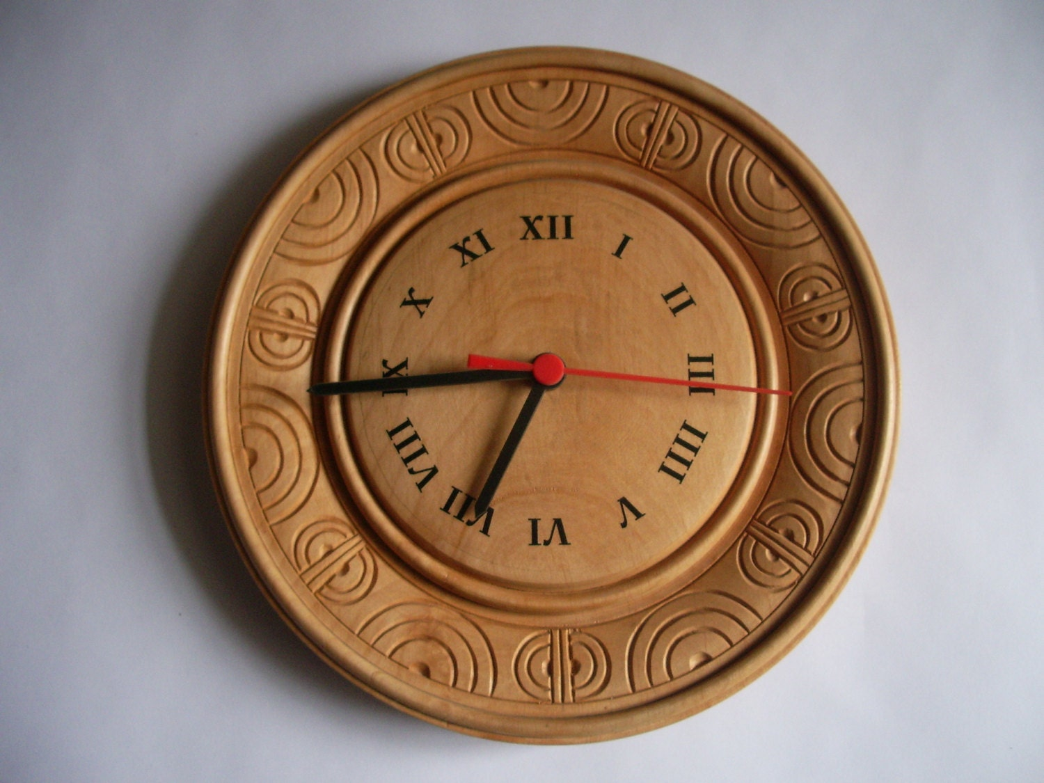 Wooden clock wall hand carved rustic unique