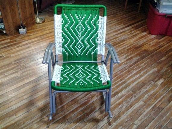 Chaise de pelouse macram cadres recycl s tiss s d cor de for Chaise de parterre