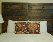 Hanger * Queen Horizontal Headboard - Oil and Water-Based Stain Color. Made with 4 Barn Walls blocks. Hang on the wall like picture frames