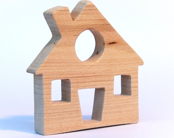 wooden teether house, baby toy, personalized wood toy, natural