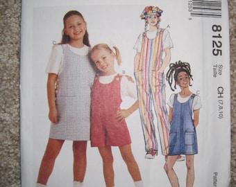 UNCUT Girls Jumpsuit, Romper and Jumper - Size 7, 8, 10 - McCalls Pattern 8125