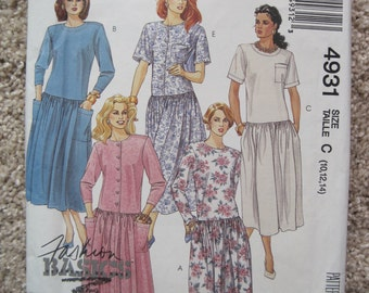 UNCUT Misses' Dress - Size 10, 12, 14 - McCalls Pattern 3755 - Vintage 1990
