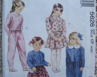 UNCUT Childrens Unlined Jacket, Skirt and Pants - Size 3, 4, 5 - McCalls Pattern 5626 - Vintage 1991
