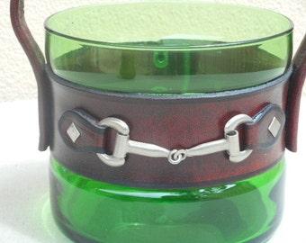Glass Ice Bucket Retro 1970s with Leather & Metal Handle
