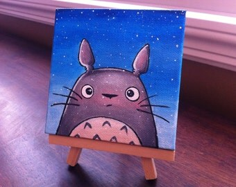 Totoro Fairytale Art. Acrylic on Mini Canvas