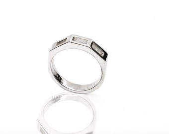 Unisex ring for men, sterling silver. 925, design, cube, rectangle.
