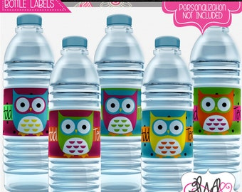 EDITABLE INSTANT DOWNLOAD: Neon Owl Themed Water Bottle Labels