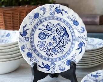 """Blue Nordic Bread and Butter Plate 6 1/4"""" Johnson Brothers Ironstone Made in England, Blue and White Transferware, Hand Engraved,"""