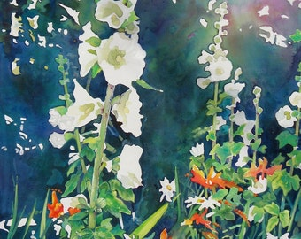 White Hollyhocks - The Light Influence, An Afternoon Glance - Original Acrylic Painting