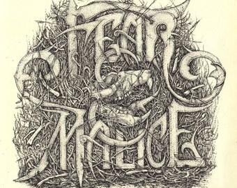 "Pen and Ink Stippled ""Fear & Malice"" Typography Print"