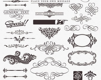 DESIGN ELEMENTS Clipart, PNGs and Vector file, Frames, Labels, Ornament, Dividers, Fluorish, Decorative, Card Diy / Instant download E14
