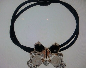 New Butterfly Elasticized Black & White Ponytail Hair Tie