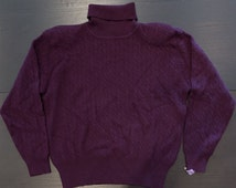 Vintage Plum Pure Lambswool Turtleneck Cable Knit Sweater