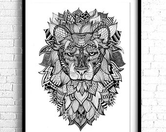 Lion Print / Patterned Print /11x14 Wall Art
