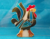 1969 Wondermold Rooster Wall Hanging Plaque Lucite  By NewDesign Inc. Vintage Decor kitchen