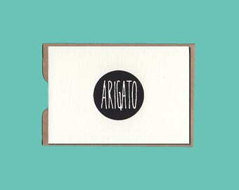 ARIGATO card with envelope