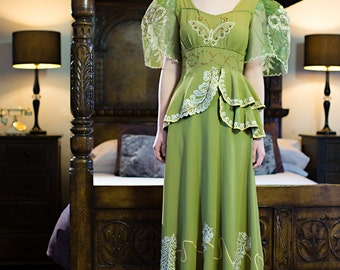 Couture 1940s Chartreuse green rayon gown