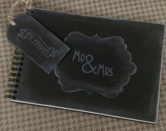 retro guest book / MR and MRS book / black chalkboard guestbook / black scrapbook / photo booth book / photo album / wedding guestbook