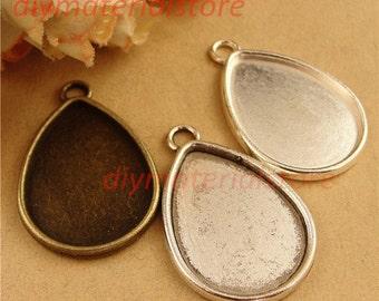 2Pcs Pendant Trays - 25x18mm Teardrop Silver, Antique Bronze, Antique Silver - Blank Bezel Cabochon Setting