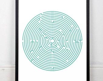 Modern art, Contemporary print, Maze art, Wall art, A3 print, Minimalist artwork, Mid century modern, Round maze art, Office decor, Modern