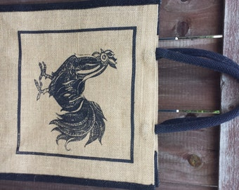 Jute and black tote bag