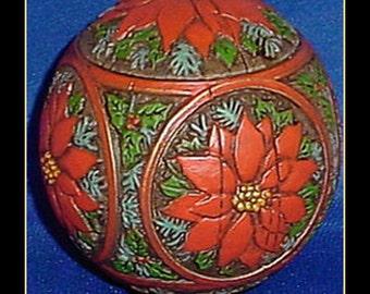Hallmark 1978 Holly and Poinsettia Ball Ornament