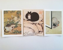 """1980's Metropolitan Museum of Art Cat Greeting Cards - Set of 3 Blank Note Cards & Envelopes - 5.75"""" x 4.25"""" Chinese Japanese Art"""