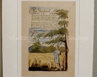 William Blake Art Print The Shepherd 1789 British Romantic Poem Vintage Color Lithograph Book Plate Illuminated Poetry Home Office Decor