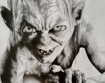 Gollum Pencil Drawing Portrait Print