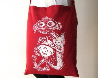Red tote bag, Canvas tote bag, Monster tote bag, Screen printing tote bag, Tote bag, Shopping tote bag, Red canvas bag, Messenger bag