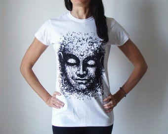 Buddha t shirt, Screen printed tee, Spiritual t shirt, Buddhist tee, Yoga t-shirt, Yoga Buddha t shirt, Buddhist accesories, White t shirt