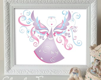 Nursery Art Instant Download / Printable Childrens Wall Art - Angel - 8 x 10inches / Home Decor