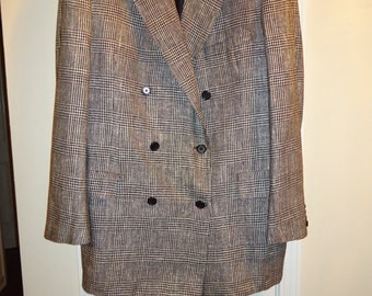 OXXFORD CLOTHES Double Breasted Balmoral Silk Sports Coat 44L Handmade