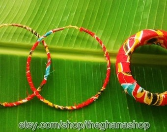 Ankara Wrapped Metal Hoop Earrings w Copper Wire & Matching Bangle