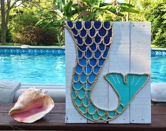 Handmade Mermaid Tail Beach Pallet Art Coastal Decor Mermaid Art