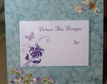 """Teal with Purple Flower & Dragonfly 4""""x6"""" acrylic photo frame"""