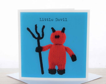 Greetings card - Knitted 'Little Devil' card