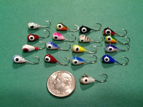 Items similar to hand painted tungsten ice fishing jigs for Tungsten ice fishing jig