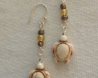 White Turtle Earrings