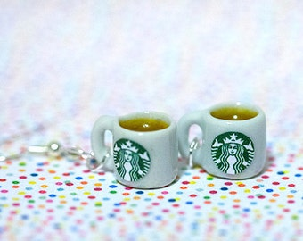 Miniature Starbucks Tea Earring with Silver Plated or Sterling Silver your choice