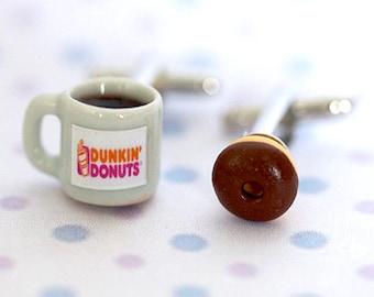 Miniature Dunkin Donut Coffee and Chocolate Donut Cufflinks