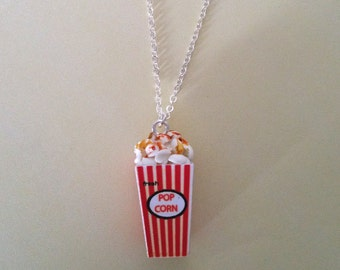 Miniature Food Movie Popcorn Necklace with Silver Plated Chain
