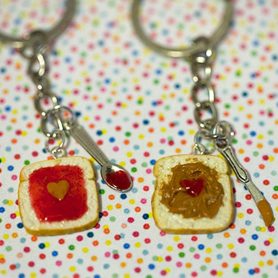 Miniature Cute BFF Peanut Butter Jelly Heart Keychain Set with knife ...