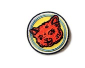 Kitschy Cat Retro Iron-on Embroidered Patch, 2 inch, colorful badge/emblem, ships free US, for backpacks, jackets,hats, children's clothing