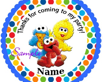 Sesame Street Babies Blue Personalized Stickers, Party Favor Tags, Thank You Tags, Gift Tags, Birthday, Baby Shower
