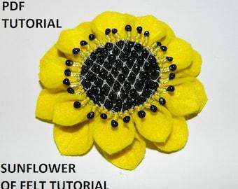 Fabric flower tutorial PDF, felt fabric flower, fabric flower brooch of felt - sunflower! Christmas gift idea!