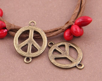 100pcs 23x16mm antique bronze peace pendants peace charms Y7490