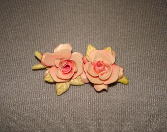 Vintage Carved Celluloid Brooch Floral Roses