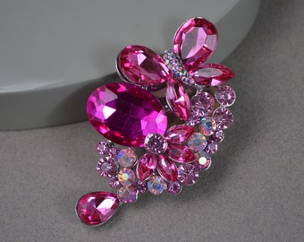 Brooch Pin - Pink Brooch. Wedding Jewelry Bridal Accessories Crystal Brooch Bouque. C302.